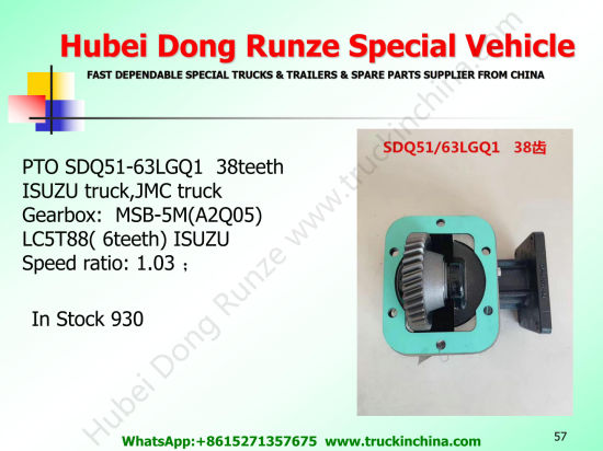 Isuzu Truck Pto Sdq51/62 Sdq51/63 (Gearbox Power Take off For ISUZU QINGLING Transmission MSB-5M LC5T88 PTO Part Assembly)