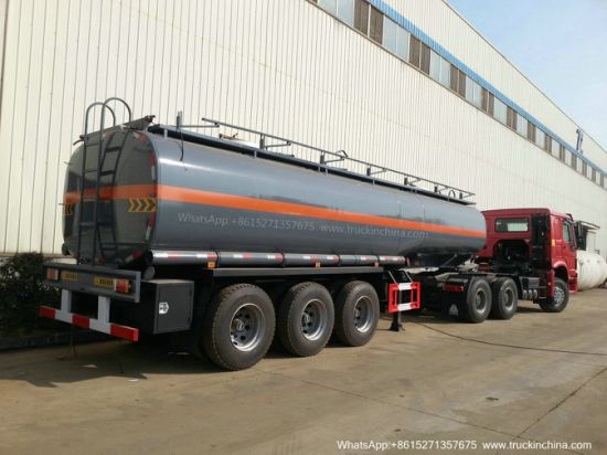 33 T Liquid Sulfuric Acid Tank Trailer (22-33M3 Carbon Steel 8mm Shell, Or Lined LLDPE Plastic Rubber for H2SO4 Dilute Sulphuric Acid HCl Hydrochloric acid)