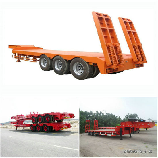 Tri-Axle 60 ~80tons Capacity Excavator Transportation Military Lowbed Semi Trailer for Sale