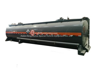 Hydrocyanic Acid Tank Mounted On Container Trailer For Road Transport 30KL-40KL for HC , NaOH , NaCLO H2SO4 Steel Lined LDPE