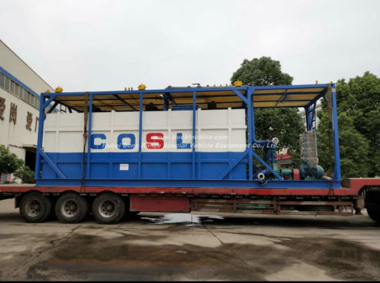 Skid 500 Bbl Frac Tank Steel Lined PE for Oilfield Chemical Contain (Skid With Motor Pump and Reactor Motor Stirring For Mxing HCl Hydrochloric Acid)
